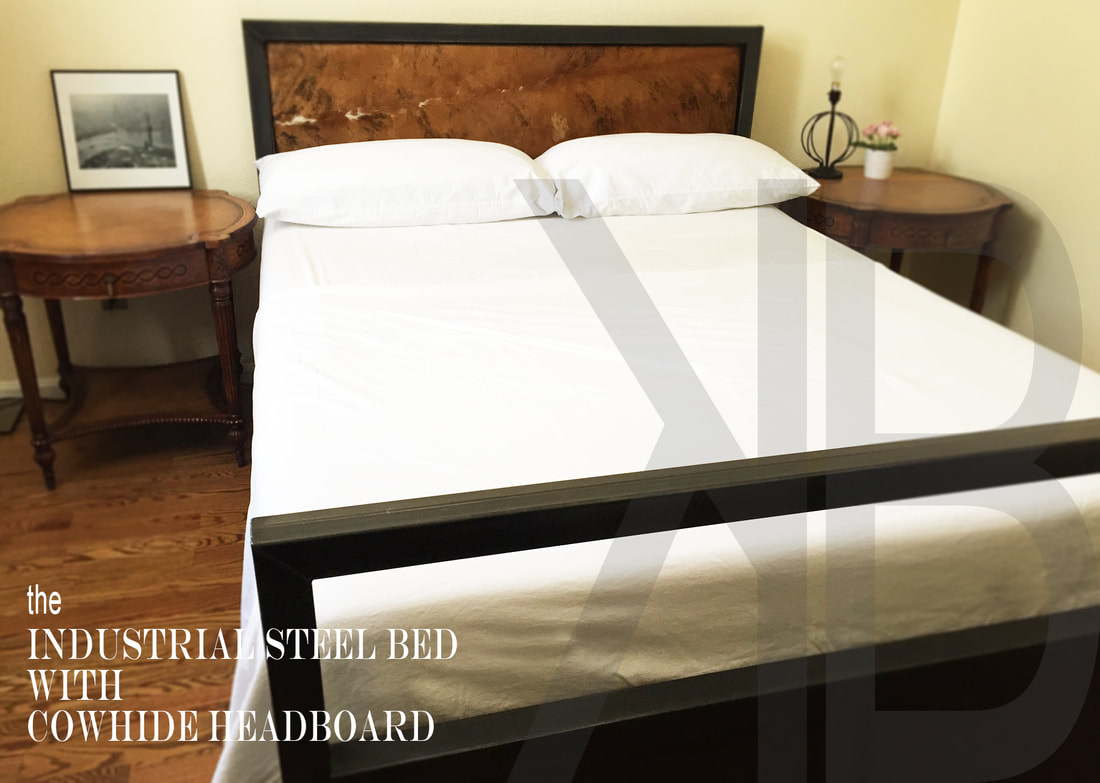 STEEL BED WITH COWHIDE HEADBOARD, Denver Colorado Industrial Furniture  Modern Bed