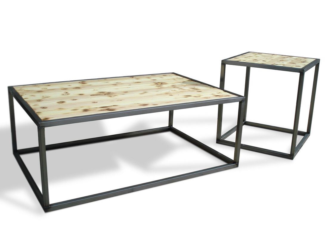 Industrial modern coffee cocktail table set kb for Loft furniture