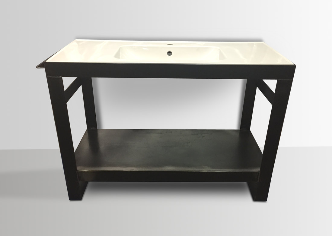 Denver Colorado industrial modern bathroom vanity washstand sink stand modern bathroom decor Metal vanity